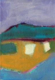 """Small landscape, Day 47. 7"""" x 5"""" on canvas board."""