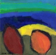 """Small landscape, Day 71 - 6"""" x 6"""" on Masonite."""