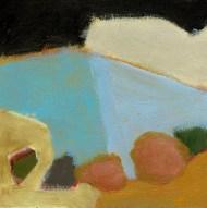 """Small landscape, Day 64 - 6"""" x 6"""" on masonite"""
