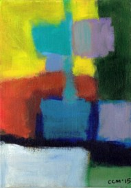 """Small landscape Day 45 - 7"""" x 5"""" on canvas board."""