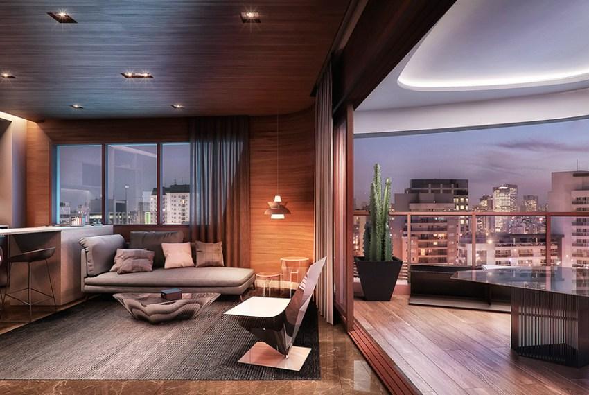 APTO de 47 m² com as varandas feitas com forro de gesso rebaixado e iluminação diferente, para reforçar a ideia de estar em uma nave, não no meio da cidade