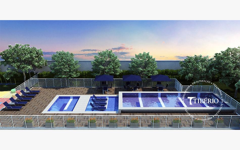 Constantino Campo Belo - Perspectiva artística da piscina aldulto, piscina infantil, deck molhado e solarium da Tibério Construtora