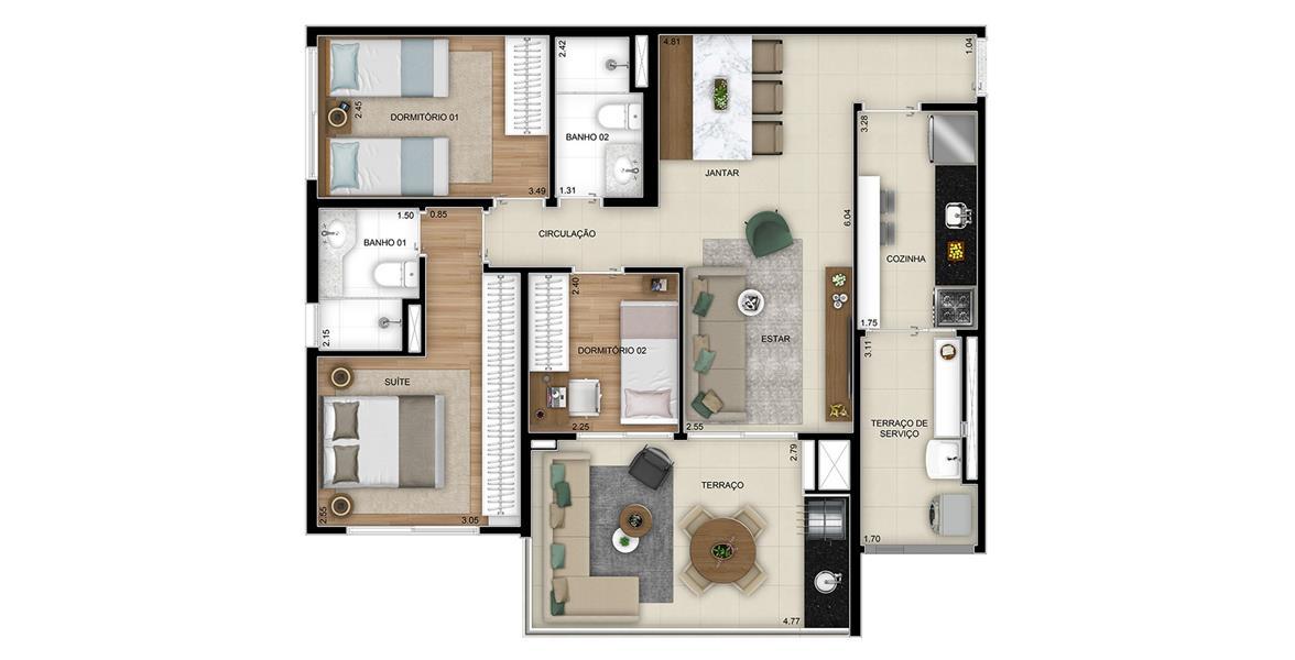 Planta Opção 3 Dormitórios (1 Suíte) - Final 1 com 87m² do Next Astorga Condomínio Clube
