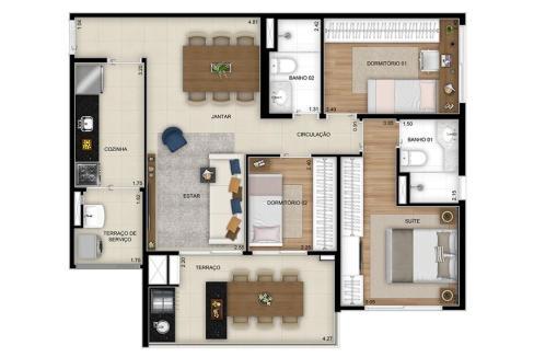 Planta Opção 3 Dormitórios (1 Suíte) - Final 2 com 81m² do Next Astorga Condomínio Clube