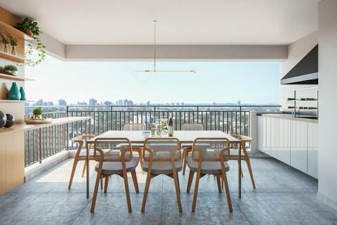 Terraço com churrasqueira do apartamento de 2 dorms. (1 suíte) - 87m² do Next Astorga Condomínio Clube