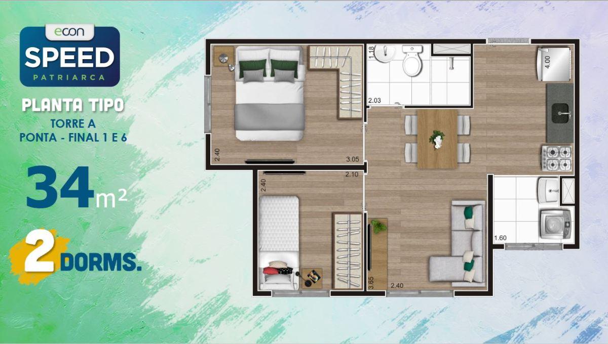 Opção 1 - Planta de 2 Dormitórios do Speed Patriarca