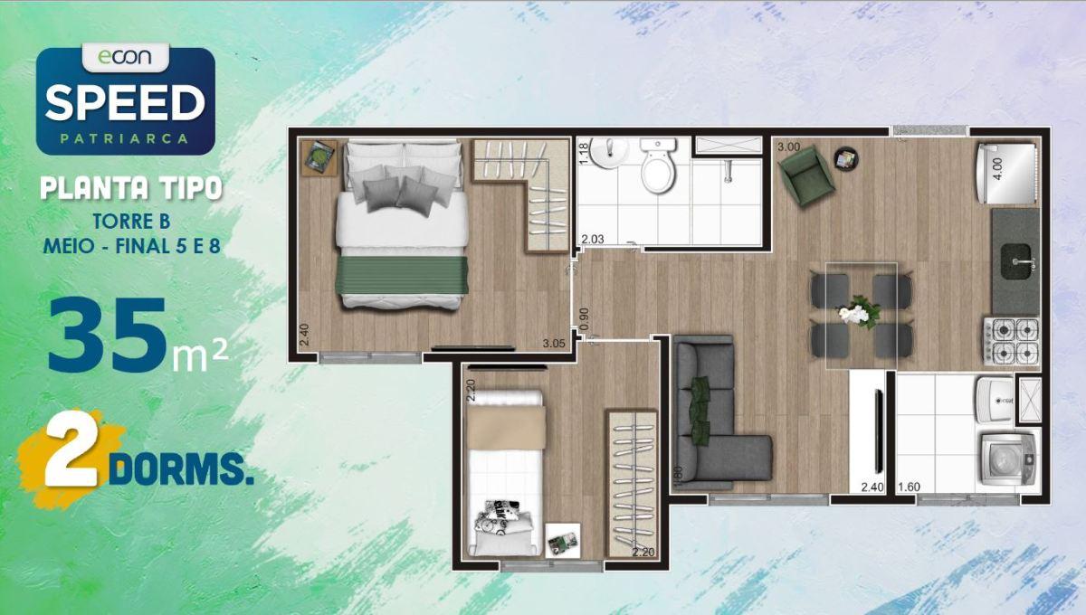 Opção 2 - Planta de 2 Dormitórios do Speed Patriarca