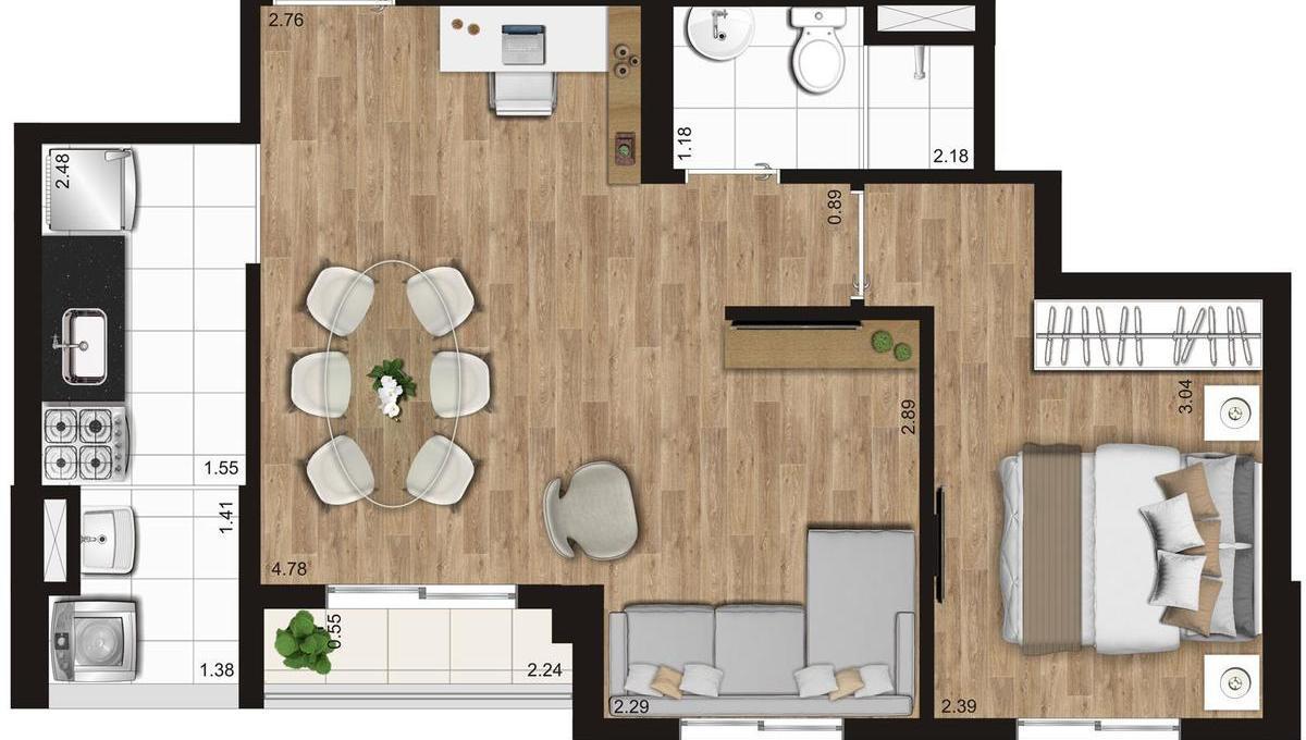 Opção 1 - 1 Dormitório do KZ Radial