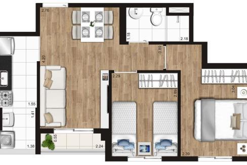 Opção 2 - 2 Dormitórios do KZ Radial