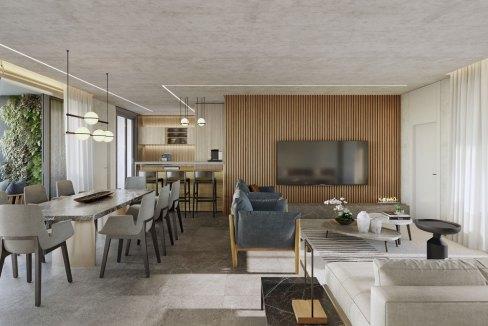 Exclusivo Living com 180º do Apartamento de 143m² do Lançamento Funchal 641
