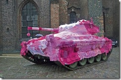 yarn bombed tank