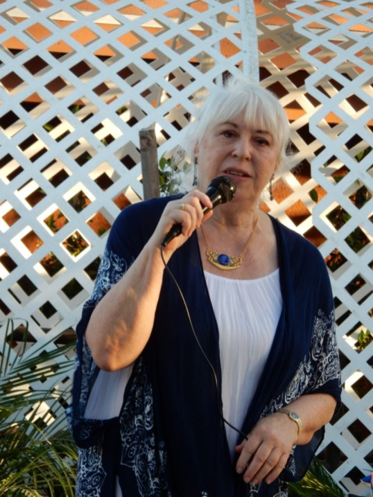Sheila at the mic