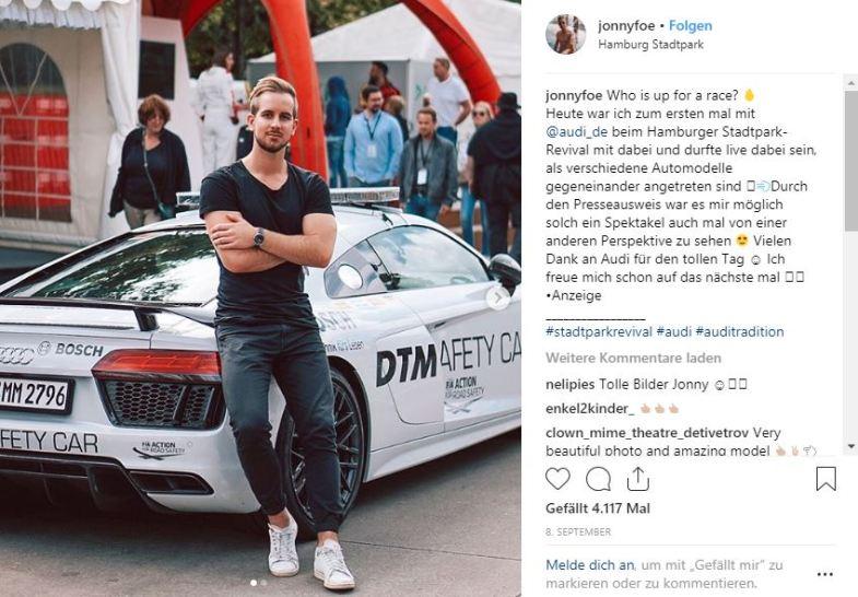 Blogger Jonny Foe auf Instagram
