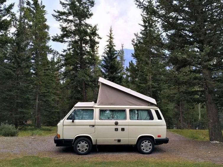 vw camper van camping in banff