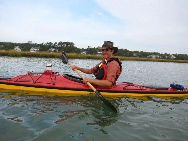 man kayaking in murrells inlet myrtle beach