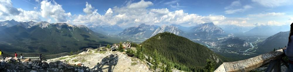 rocky mountains in banff seen from top of sulphur mountain