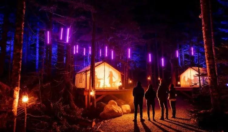 people enjoying lights at vallea lumina whistler