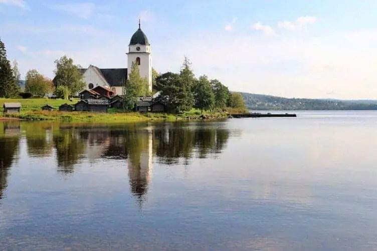 rattvik church next to lake siljan sweden