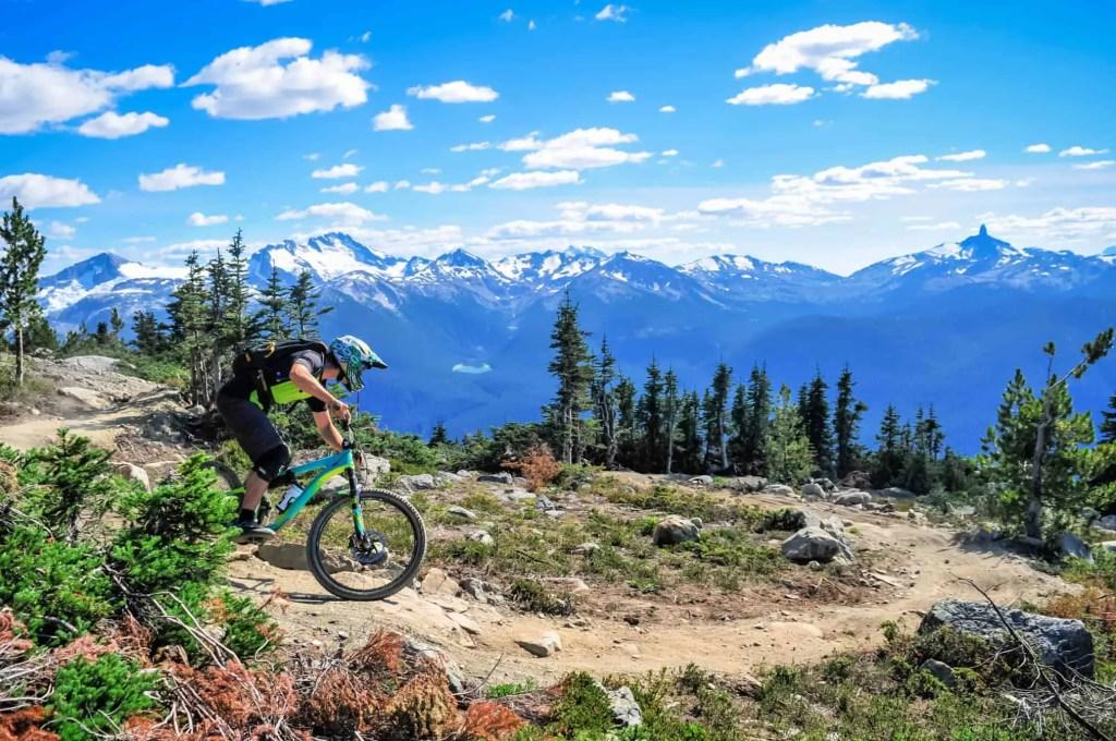 man mountain biking on whistler mountain