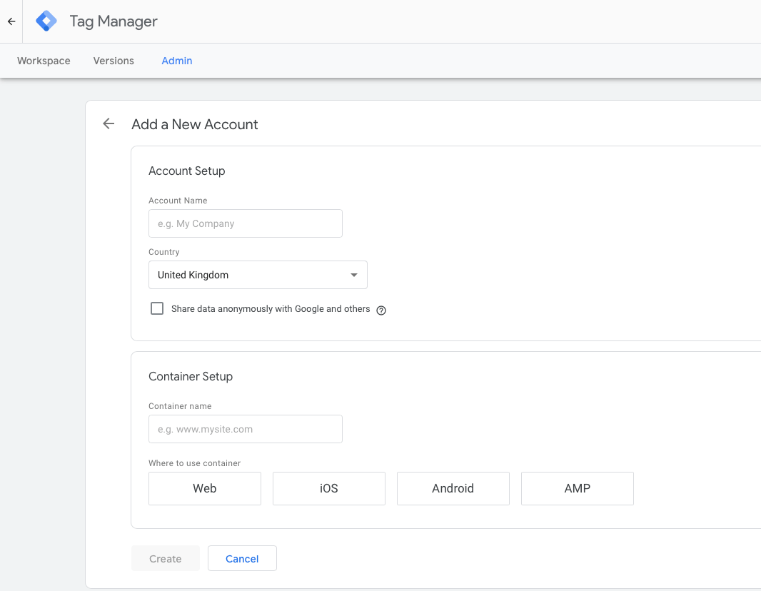 Google Tag Manager create new account