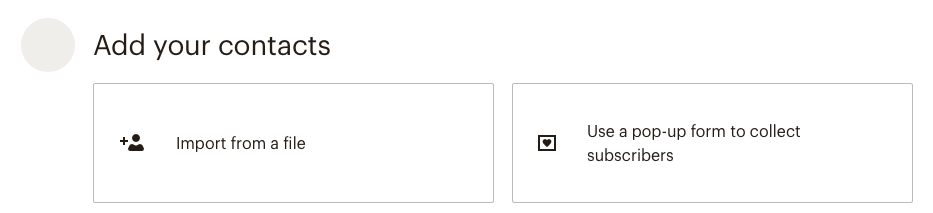 pop up to add contacts to your Mailchimp database