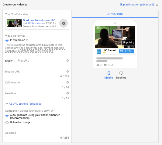 preview of youtube google ads
