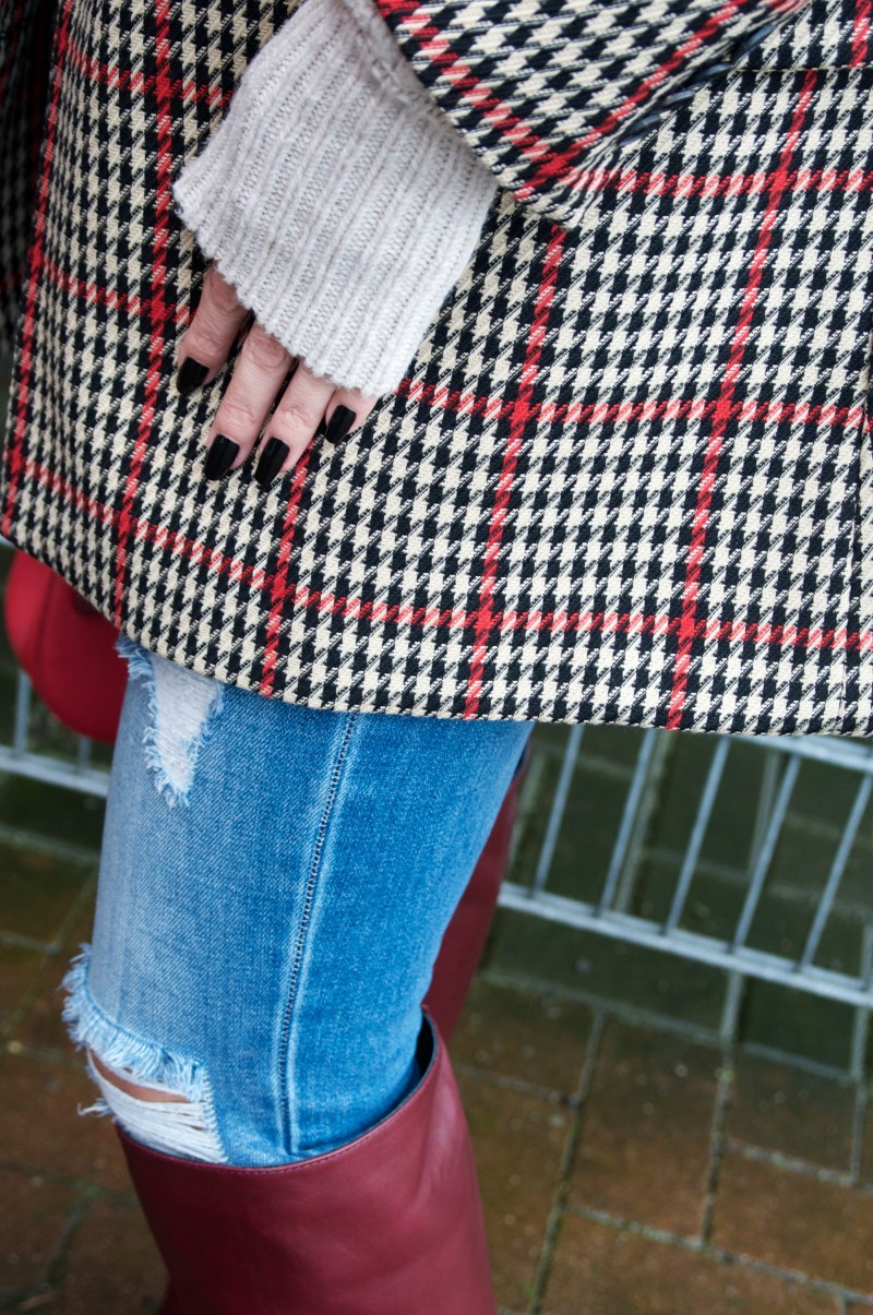 Houndstooth jacket and burgundy boots - claudinesroom