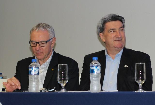 Edson Campagnolo e Valter Orsi, durante a EletrometalCon