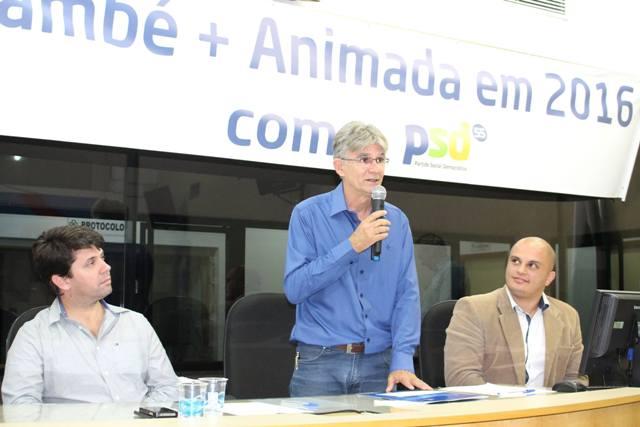 Christian Schneider, presidente do PSD de Londrina; Benê Filho e o presidente da Câmara de Cambé, Paulo Soares (PTB)