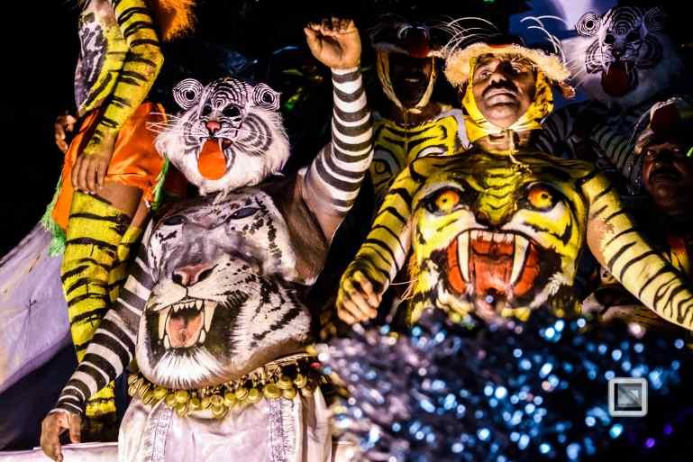 India - Kerala - Thrissur - Onam Festival - Pulikali-93