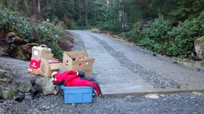 Recycling, returnables and totes waiting to be loaded into the car...