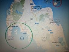 Mapa dos locais que visitei- Círculo vermelho: Ilhas koh Samui, Koh Phangan e Koh tao - Circulo Verde: Krabi, Ao Nang, as Railays ( west e est) e Phuket - Círculo azul: Koh Phi Phi.