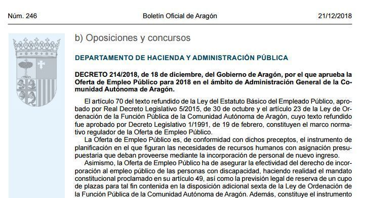 Oferta empleo público 2018 de la Comunidad de Aragón