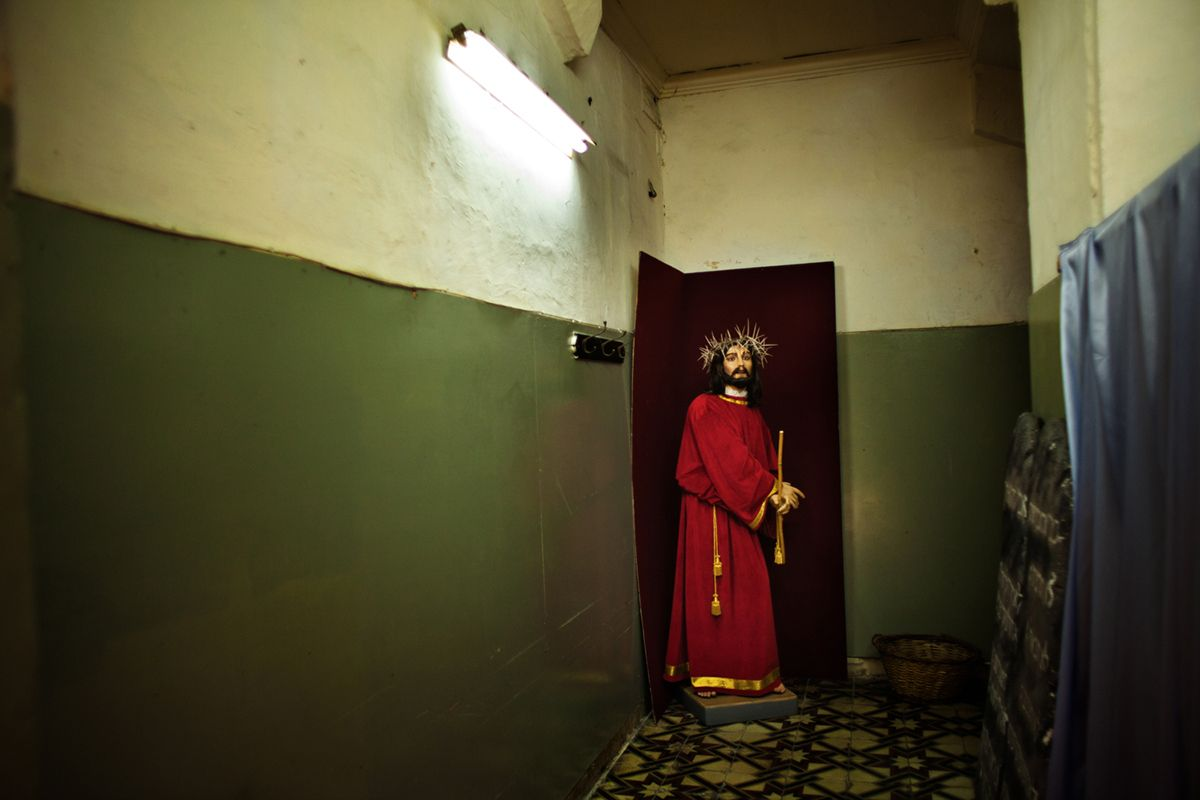 Easter in Veletta, Malta. Fraternity groups make some exhibitions about Christ in their locals.