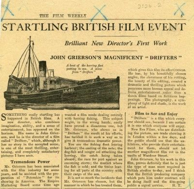 REVIEW OF DRIFTERS IN THE FILM WEEKLY (NOVEMBER 1929)