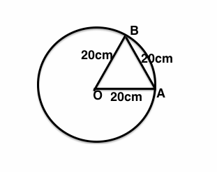 In a circle of diameter 40cm,the length of a chord is 20cm