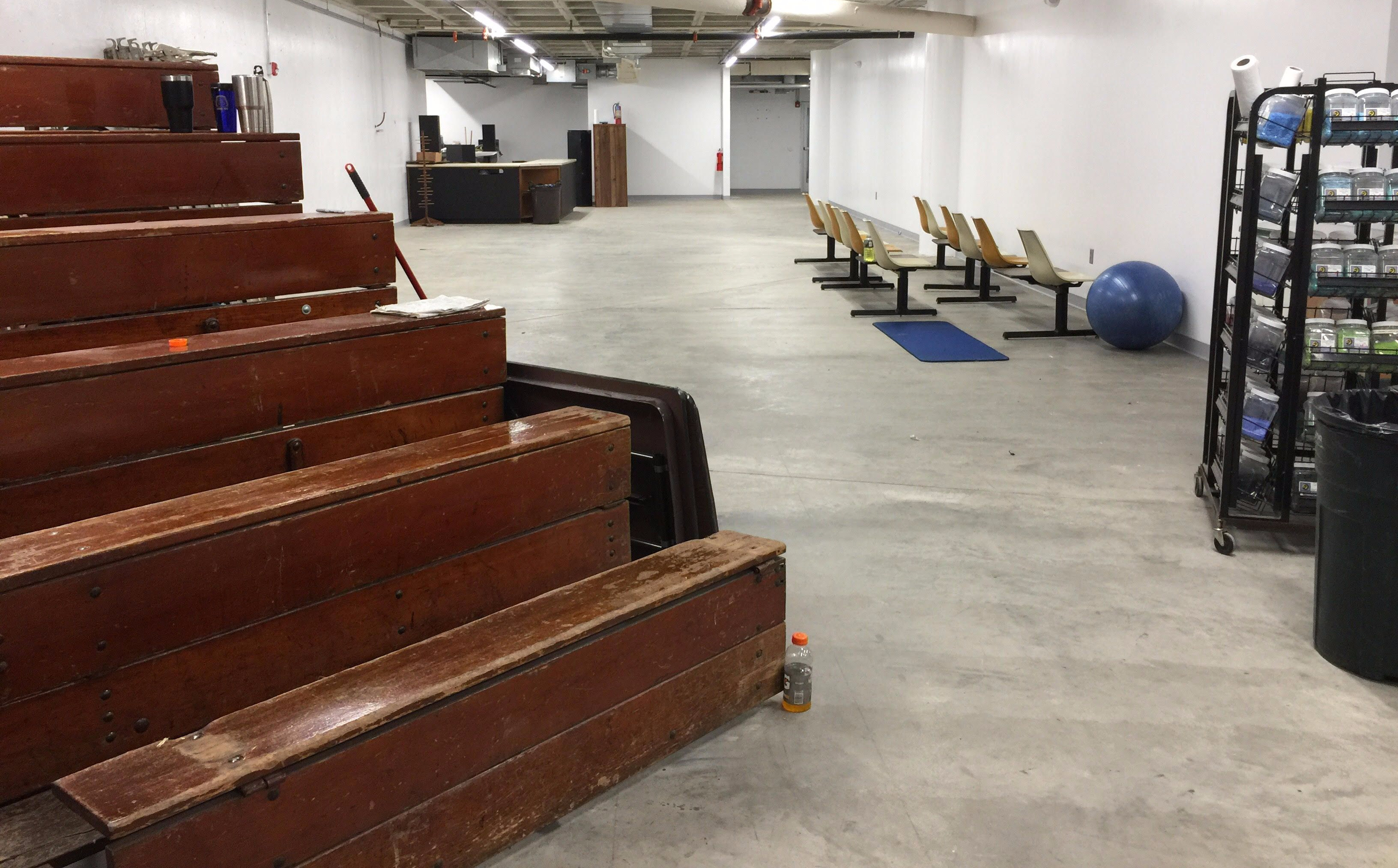 Jesse Bogenrief rents this space and will use it as a gallery and studio. He has bleachers and stools for potential crowds and educational classes.