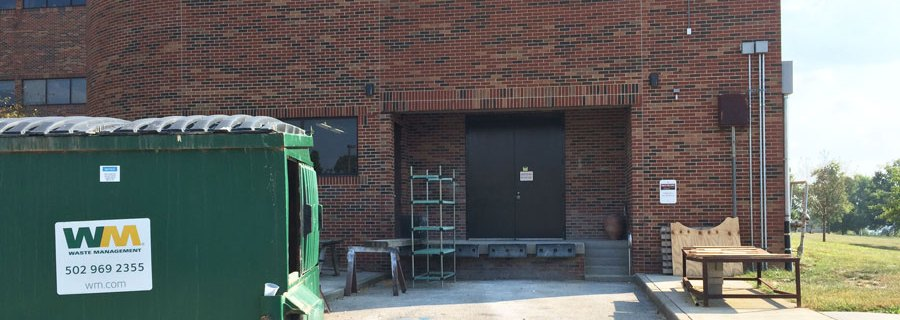 Loading dock doors leading to Ceramics