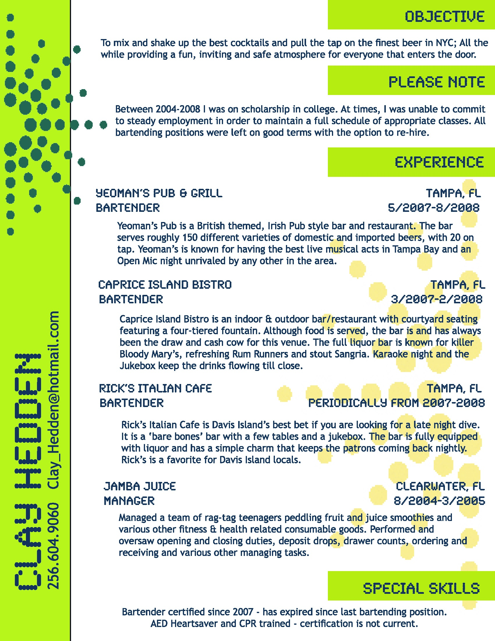 Bartender Resume Objective Samples Bartending Resume Clay Hedden