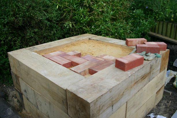 Laying the brick oven floor.