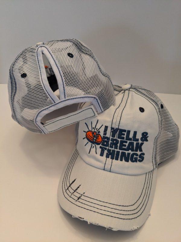 Ponytail Caps - Ladies Trap Shooting Hats - White YELL & BREAK THINGS Design