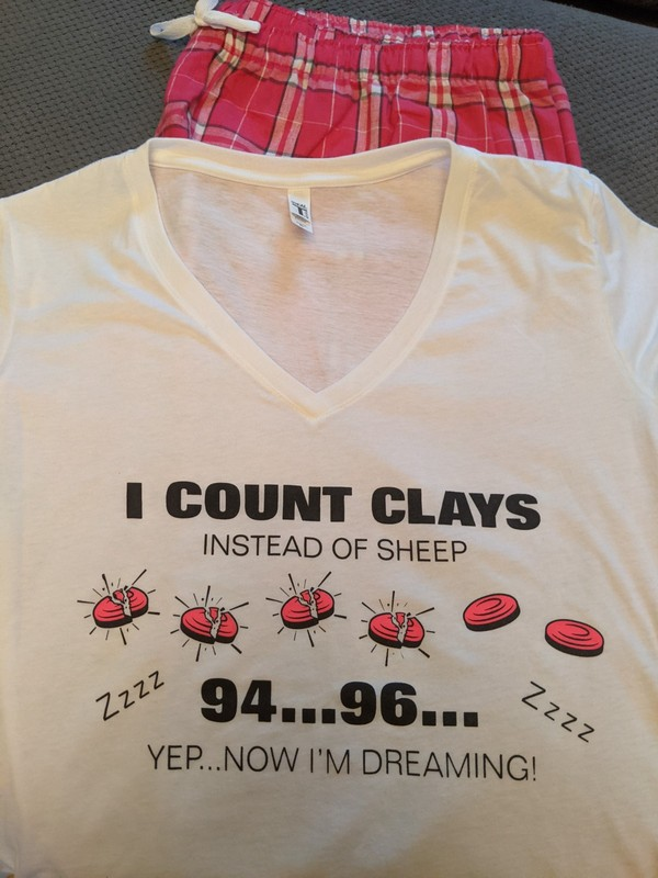 Ladies Clay Shooting Lounge Set - Counting Clays Sleep Shirt & Lounge Pants