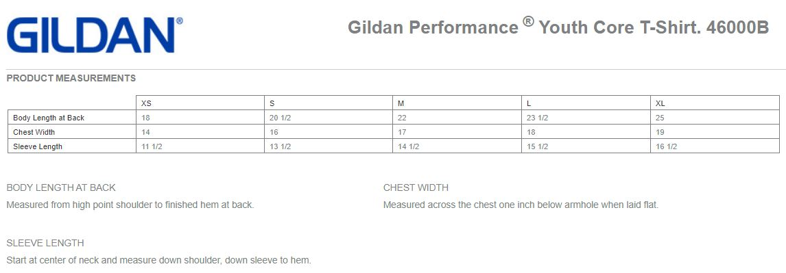 Youth Performance Tee Measurements