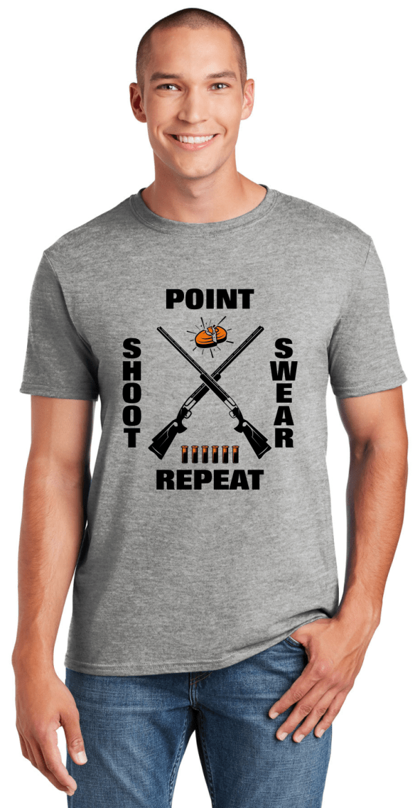 Funny Clay Shooting Shirts - Point Shoot Swear Repeat T-Shirt