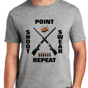 Funny Clay Shooting Shirts - Point Shoot Swear Repeat T-Shirt