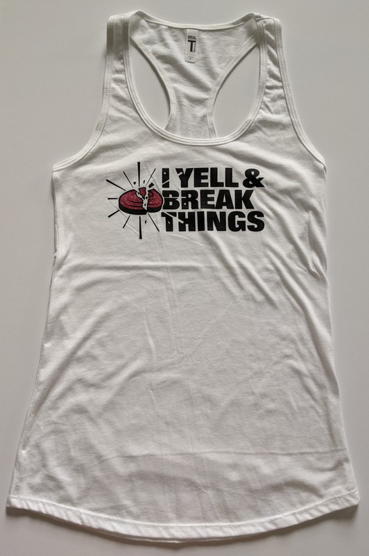 Trap Shooting Clothing Tank Top with Pink Glitter Ink - I Love To Yell & Break Things