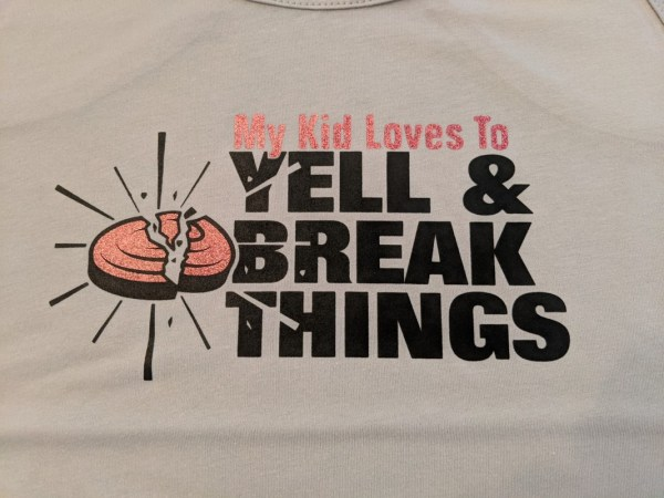 Funny Trap Mom Tank Top with Pink Glitter Ink - My Kid Loves To Yell & Break Things!