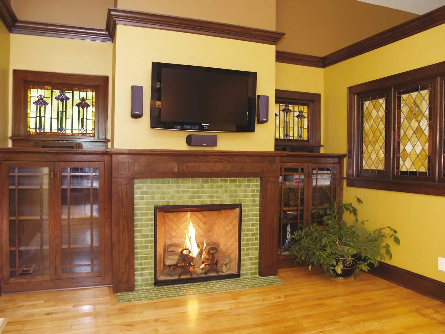 arts crafts green tile fireplace