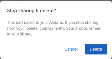 Google Photos - Stop Sharing Link