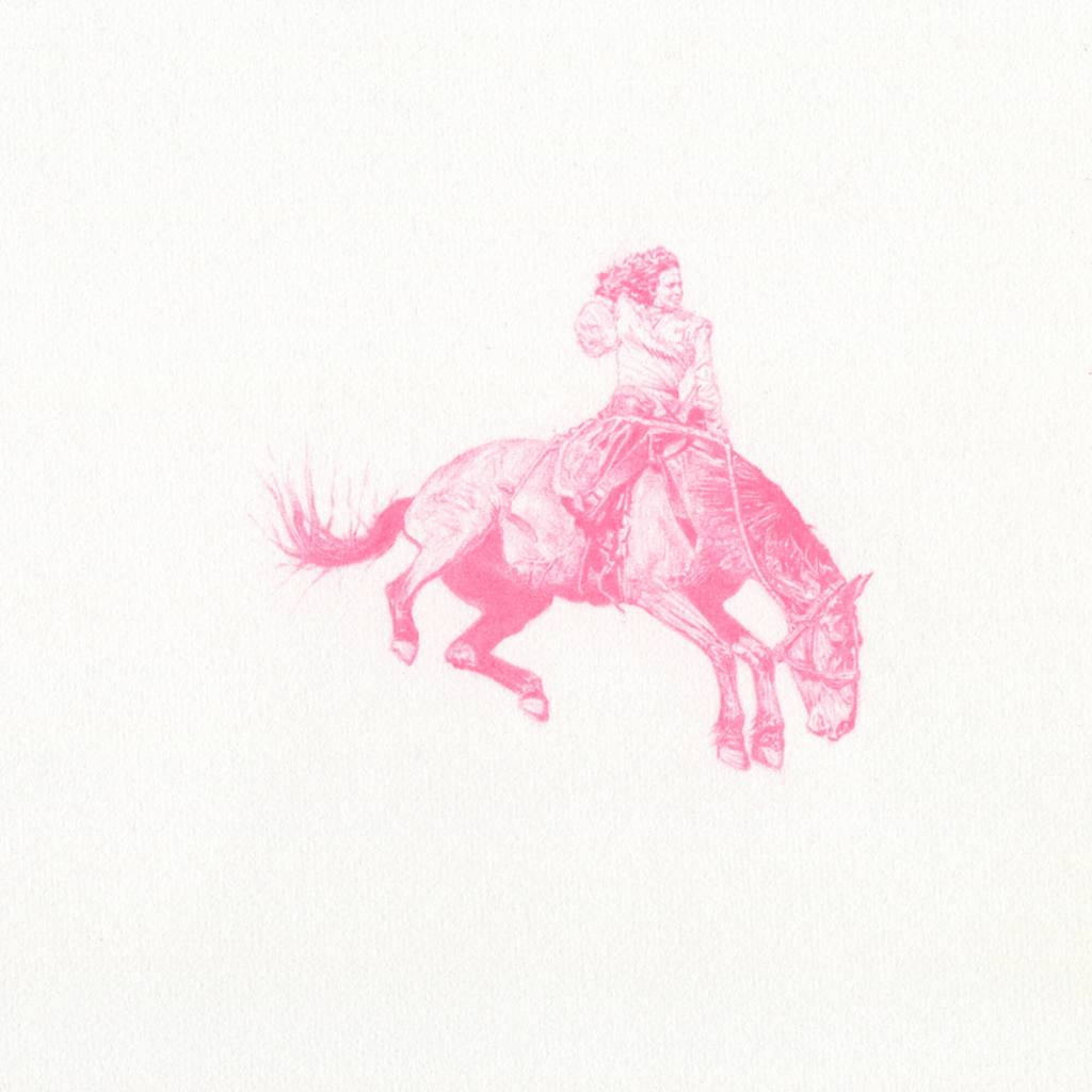 Untitled (bronc rider) Clayton Porter Art Artist Artwork Bronc Jineteada Prismacolor Drawing Pencil Paper Pink Equestrian Rodeo Cowboy Cowgirl